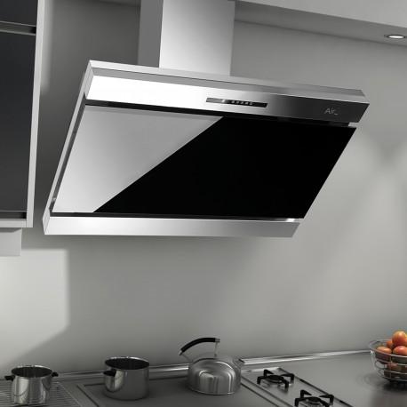 Airtech Armando 90 Decorative CookerHood in Black Glass